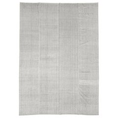 Contemporary Handmade Turkish Oversize Rug in White and Brown