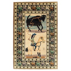 Contemporary Handmade Turkish Pictorial Accent Rug of a Steer Roping Cowboy