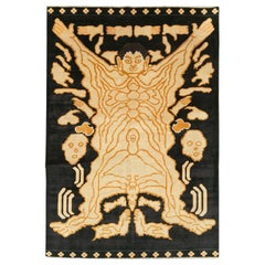 Contemporary Handmade Turkish Pictorial Flayed Man Tantra Accent Rug