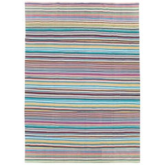 Contemporary Handmade Turkish Room Size Bright Multicolored Flat-Weave Rug