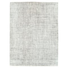 Contemporary Handmade Turkish Room Size Carpet in White & Grey