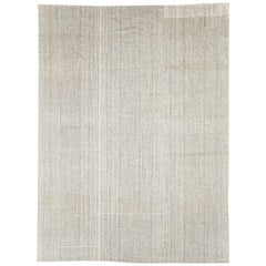 Contemporary Handmade Turkish Room Size Flat-Weave Rug in Beige and Brown