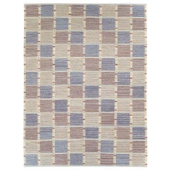 Contemporary Handmade Turkish Room Size Flat-Weave Rug in Pastel Blue and Cream