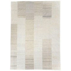 Contemporary Handmade Turkish Room Size Light Beige Flat-Weave Rug