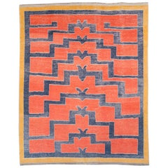 Contemporary Handmade Turkish Shag Large Room Size Rug in Rust
