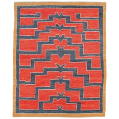 Contemporary Handmade Turkish Tulu Shag Large Room Size Rug in Rust Red