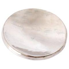 Contemporary Handmade White Gold Ceramic Dish Catchall