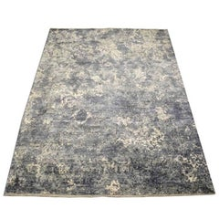 Contemporary Handmade Wool and Silk Rug in White, Grey and Blue Tones