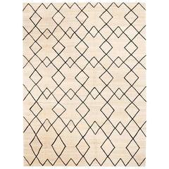 Contemporary Handmade Wool Kilim Beige and Black Rug