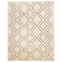 Contemporary Handmade Wool Kilim Beige and Black Rug