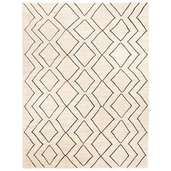 Contemporary Handmade Wool Kilim Beige and Blue Rug
