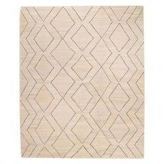 Contemporary Handmade Wool Kilim Beige and Gray Rug