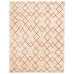 Contemporary Handmade Wool Kilim Beige and Red Rug