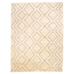Contemporary Handmade Wool Kilim Beige Background Rug