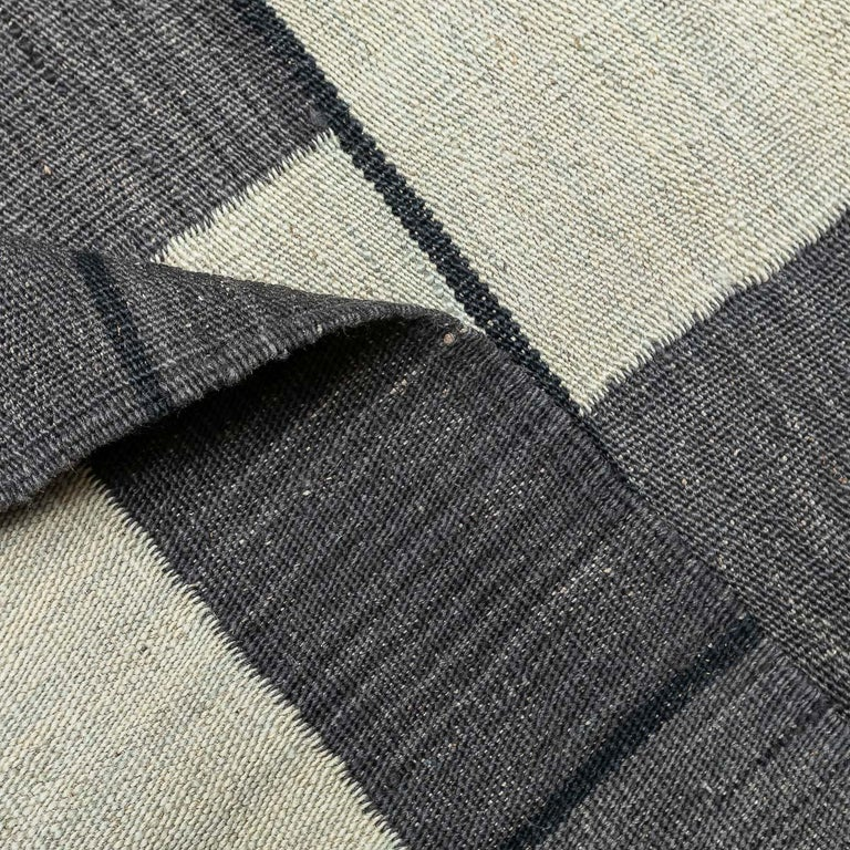 Contemporary Handmade Wool Kilim Gray and Brown Rug For Sale 10