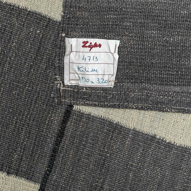 Contemporary Handmade Wool Kilim Gray and Brown Rug For Sale 11