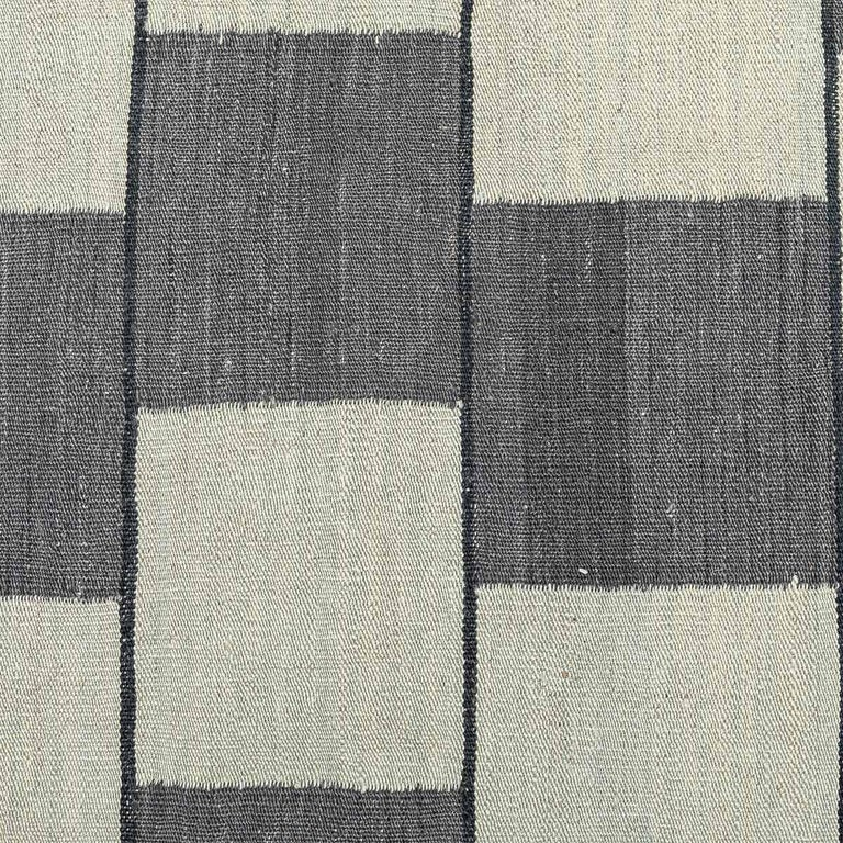 Contemporary Handmade Wool Kilim Gray and Brown Rug For Sale 4