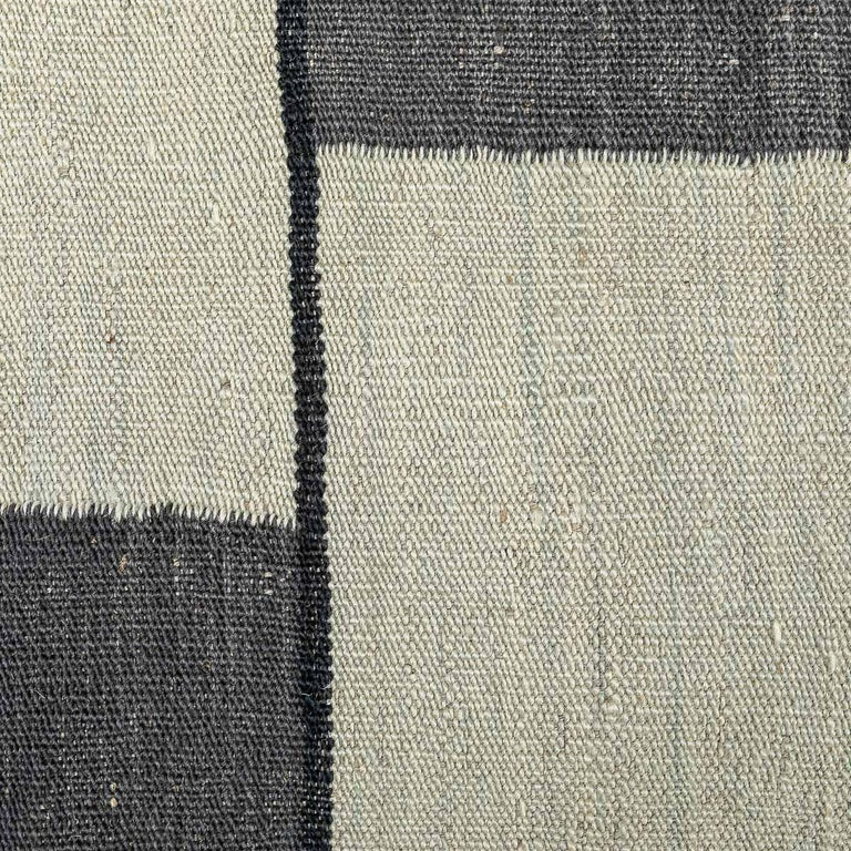 Contemporary Handmade Wool Kilim Gray and Brown Rug For Sale 5