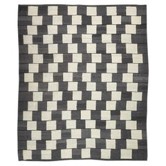 Contemporary Handmade Wool Kilim Gray and Brown Rug