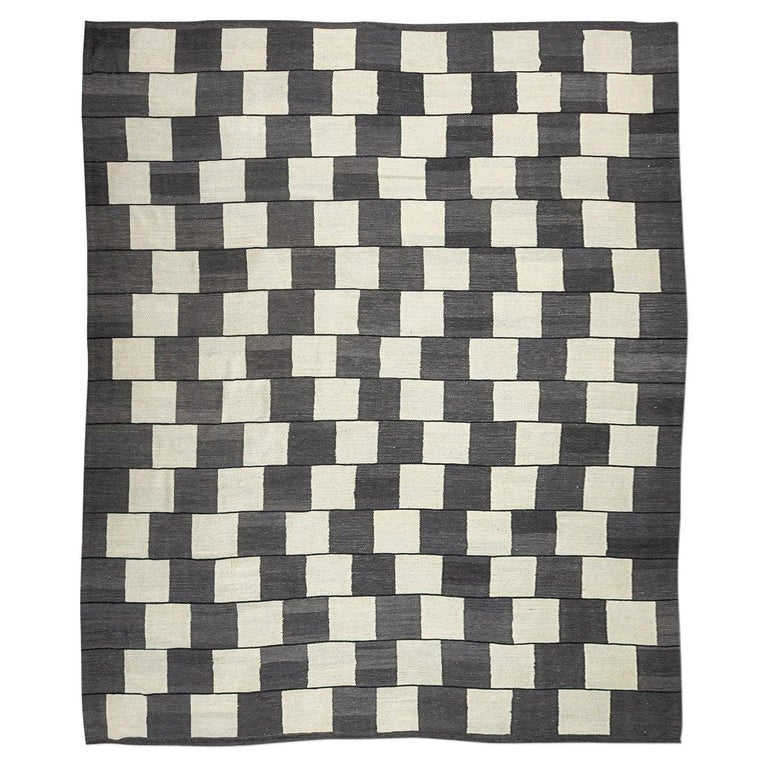 Contemporary Handmade Wool Kilim Gray and Brown Rug For Sale