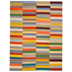 Contemporary Handmade Wool Kilim Multi-Color Rug.