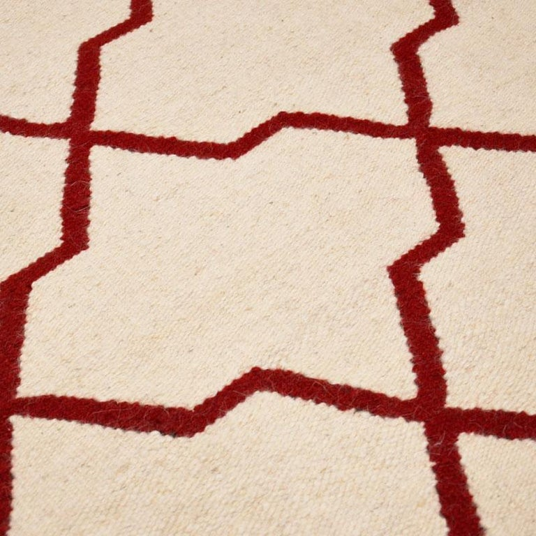 Contemporary Handmade Wool Kilim White and Red Rug For Sale 6