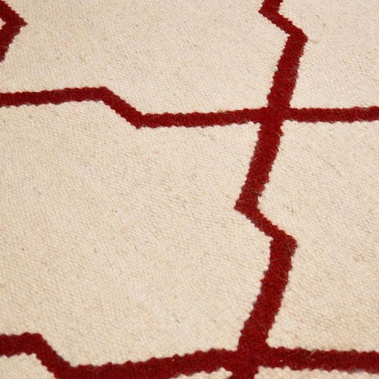 Contemporary Handmade Wool Kilim White and Red Rug For Sale 7
