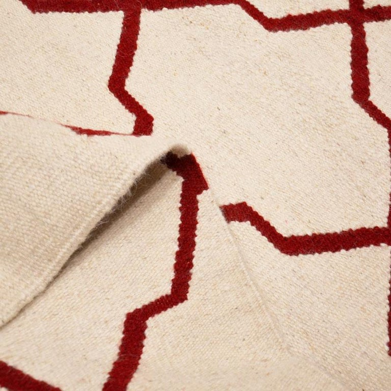Contemporary Handmade Wool Kilim White and Red Rug For Sale 9