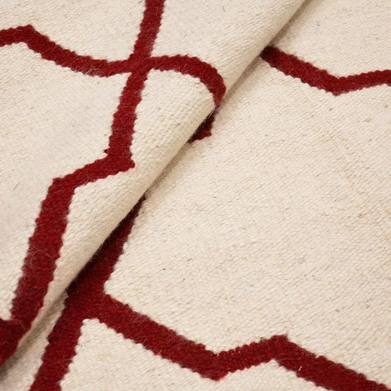 Contemporary Handmade Wool Kilim White and Red Rug For Sale 10