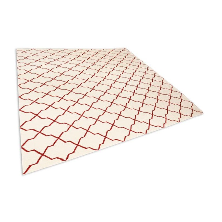Pakistani Contemporary Handmade Wool Kilim White and Red Rug For Sale