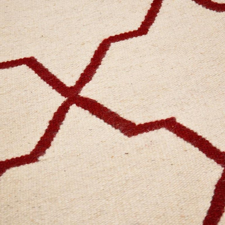 Contemporary Handmade Wool Kilim White and Red Rug For Sale 1