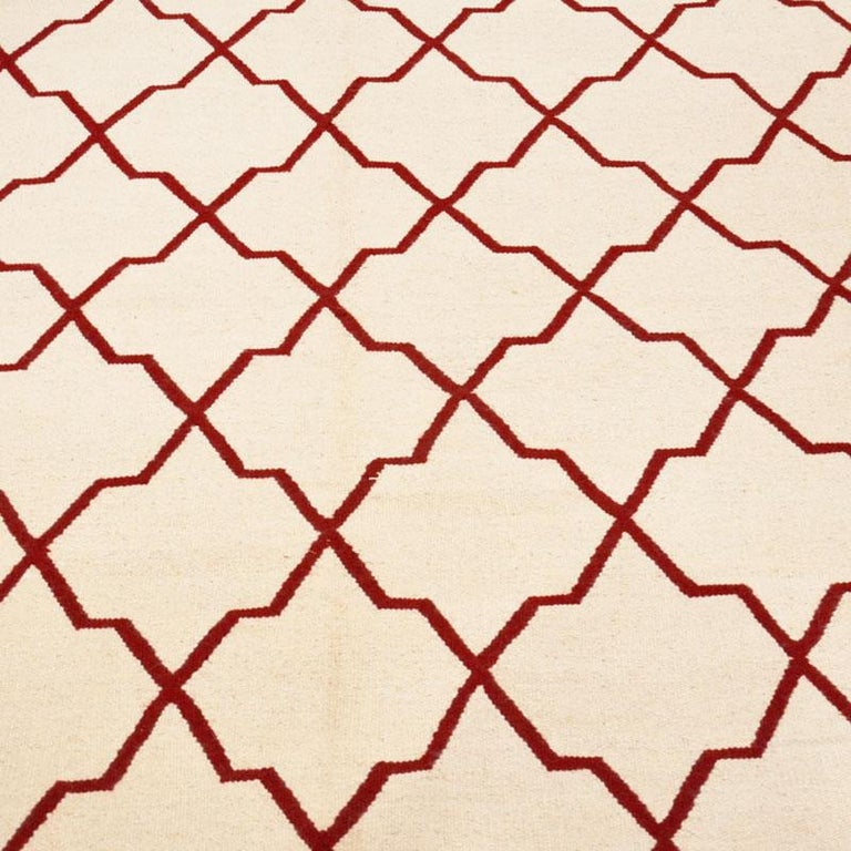 Contemporary Handmade Wool Kilim White and Red Rug For Sale 3