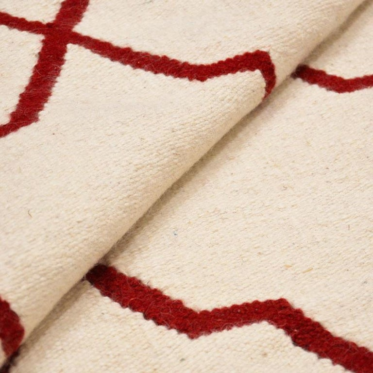 Contemporary Handmade Wool Kilim White and Red Rug For Sale 4