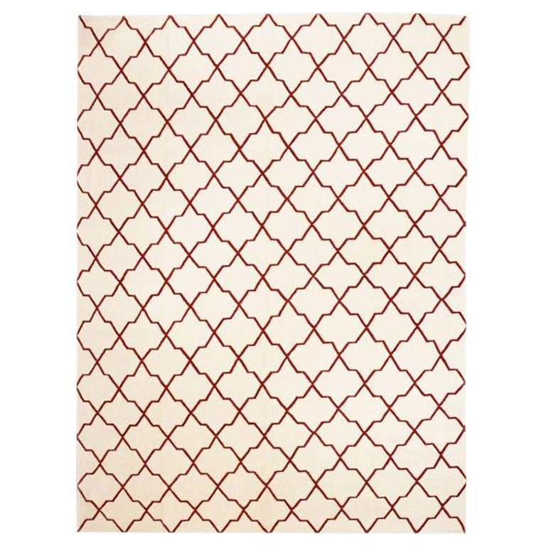 Contemporary Handmade Wool Kilim White and Red Rug For Sale