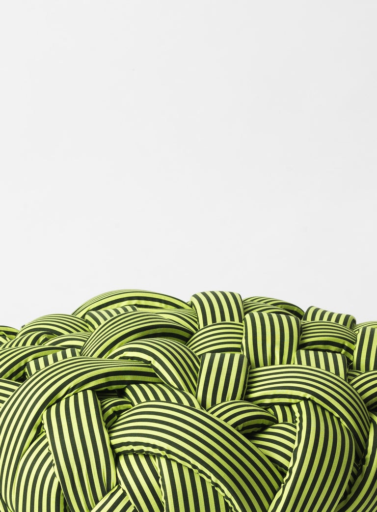 The Cloud collection was created around the concept of tress. The pieces are made with cotton fabric and foam stripes, woven and stitched by hand. Each piece is unique, as the result of the manual process to fabrication.   Dimensions may vary