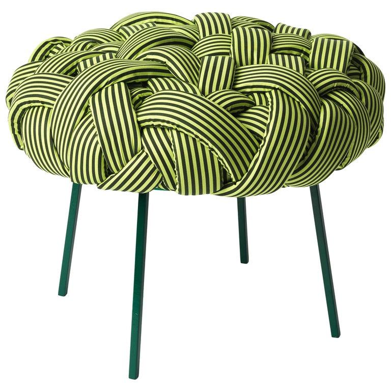 Contemporary Handwoven - Cloud Stool, Medium, Green For Sale