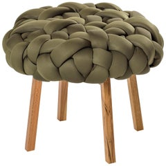 Contemporary Handwoven, Neocloud Stool, Medium, Olive