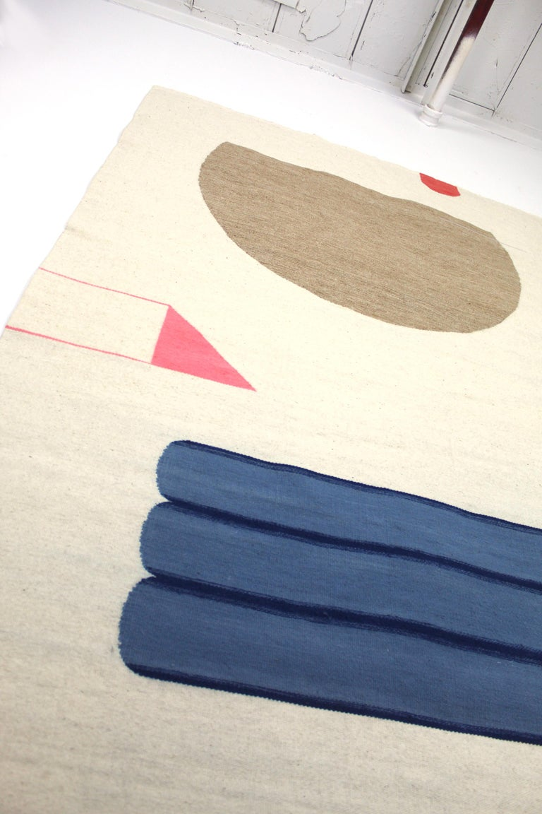 Contemporary Handwoven, Wool Rug / Kilim, Natural Dye, Blue, Pink, Beige In New Condition For Sale In Brooklyn, NY