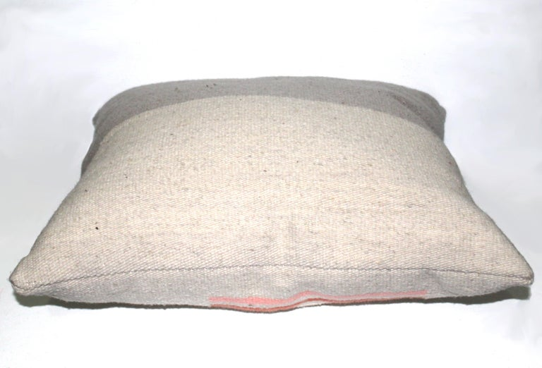 Modern Contemporary Handwoven Wool Throw Pillow, Natural Dye, Pink and Grey For Sale