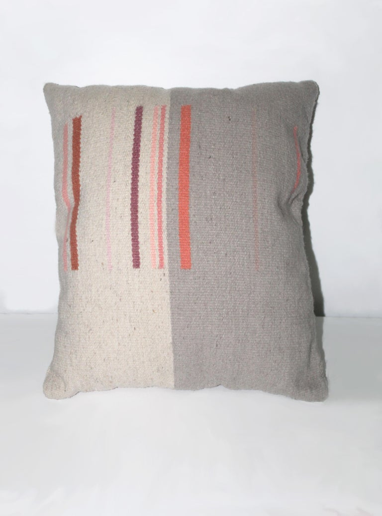 American Contemporary Handwoven Wool Throw Pillow, Natural Dye, Pink and Grey For Sale