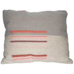 Contemporary Handwoven Wool Throw Pillow, Natural Dye, Pink and Grey