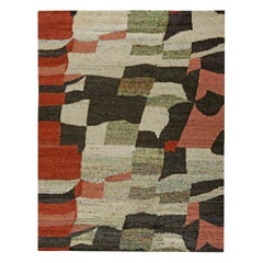 Contemporary Harlem Black, Red and Cream Hand Knotted Silk Rug