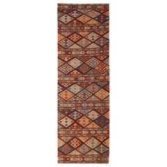 Contemporary Harput-Style Kilim Blue Camel Geometric All-Over Flat-Weave Runner