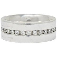 Contemporary Heavy Diamond 18 Karat Gold Men's Channel Band Ring