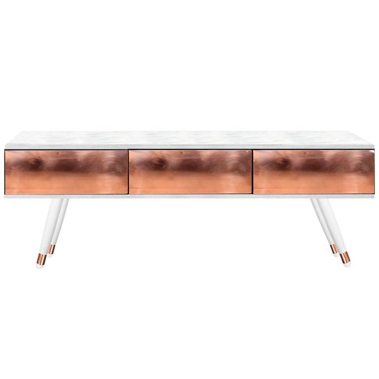 Contemporary Hekla Media Console In White Wood, Copper For