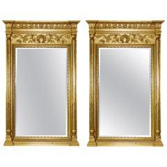 Contemporary Henredon Charles X Hollywood Regency Pair of Brass Wall Mirrors