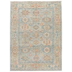 Contemporary Heriz Style Blue Handmade Geometric Floral Pattern Wool Rug