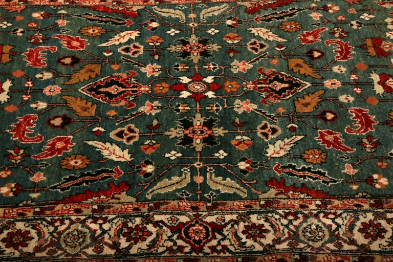 Indian Contemporary Heriz Style Rug Green Red Gold Geometric Pattern by Rug & Kilim For Sale