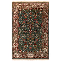 Contemporary Heriz Style Rug Green Red Gold Geometric Pattern by Rug & Kilim