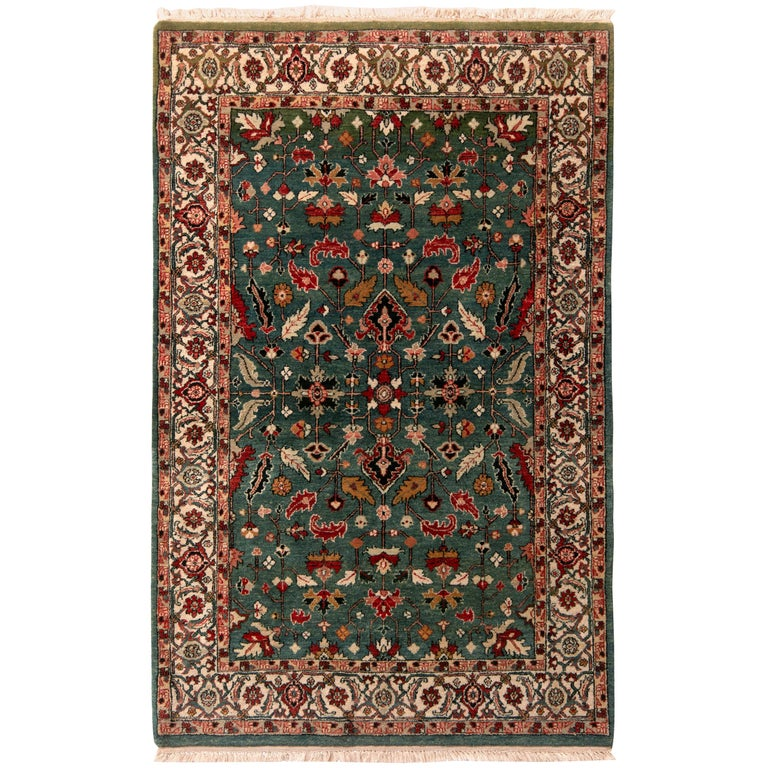 Contemporary Heriz Style Rug Green Red Gold Geometric Pattern by Rug & Kilim For Sale